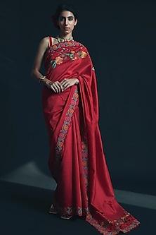Red Thread Embroidered Saree by Chandrima-CHANDRIMA