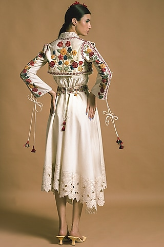 White Embroidered Bolero Jacket by Chandrima