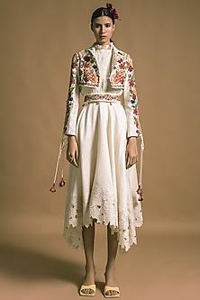 Ivory Cutwork Embroidered Skirt by Chandrima-CHANDRIMA