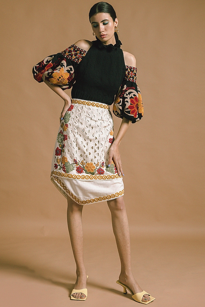 White Beads Embroidered Skirt by Chandrima