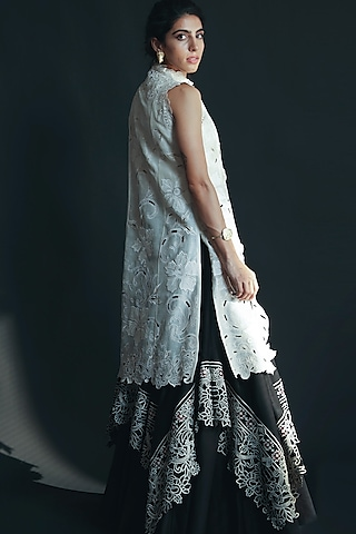 Ivory Cutwork Embroidered Jacket by Chandrima