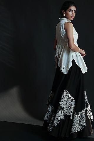 Black Cutowrk Embroidered Lehenga by Chandrima