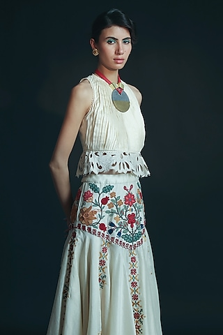 Ivory Cutwork Embroidered Top by Chandrima