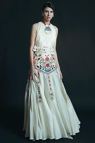 Ivory Embroidered Lehenga by Chandrima
