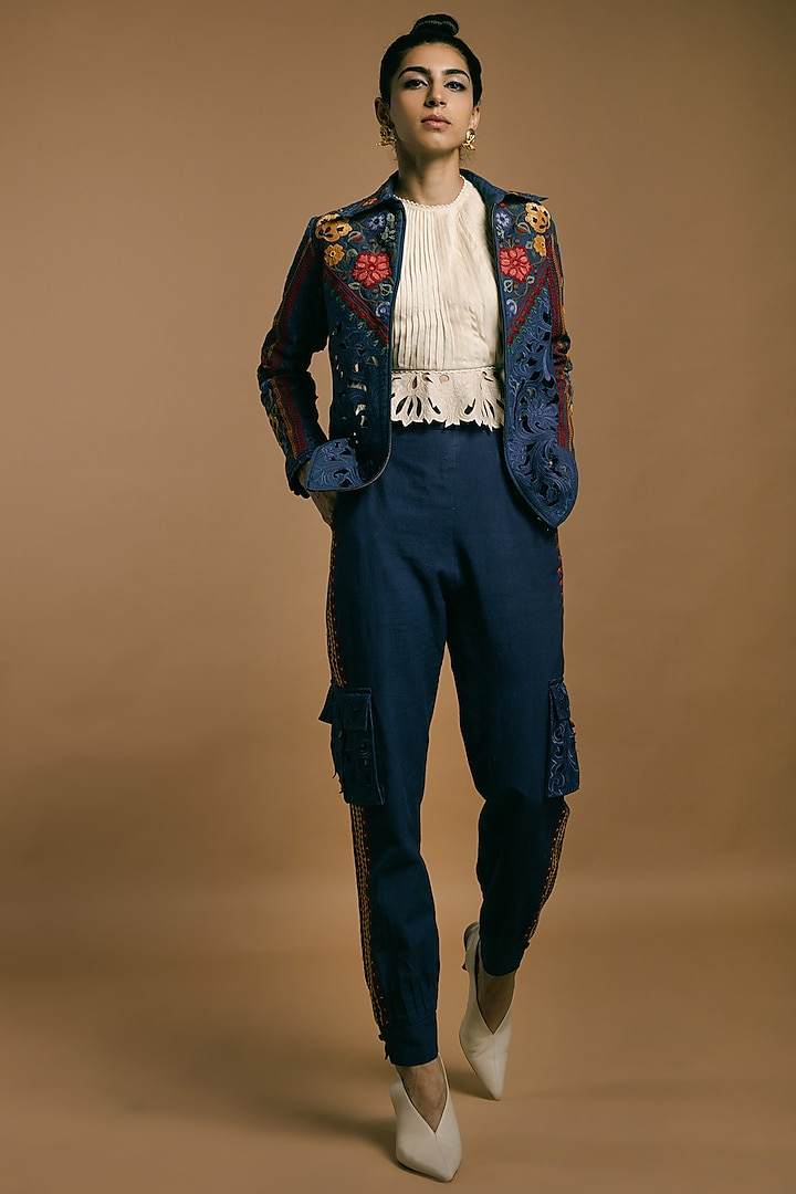 Cobalt Blue Embroidered Jacket by Chandrima