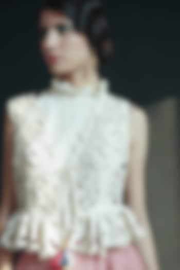 Ivory Ruffled & Embroidered Waistcoat by Chandrima