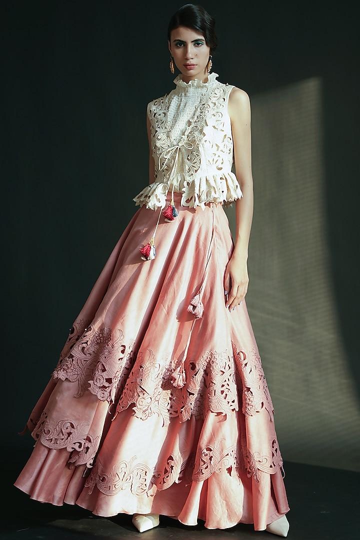 Blush Pink Embroidered Lehenga by Chandrima