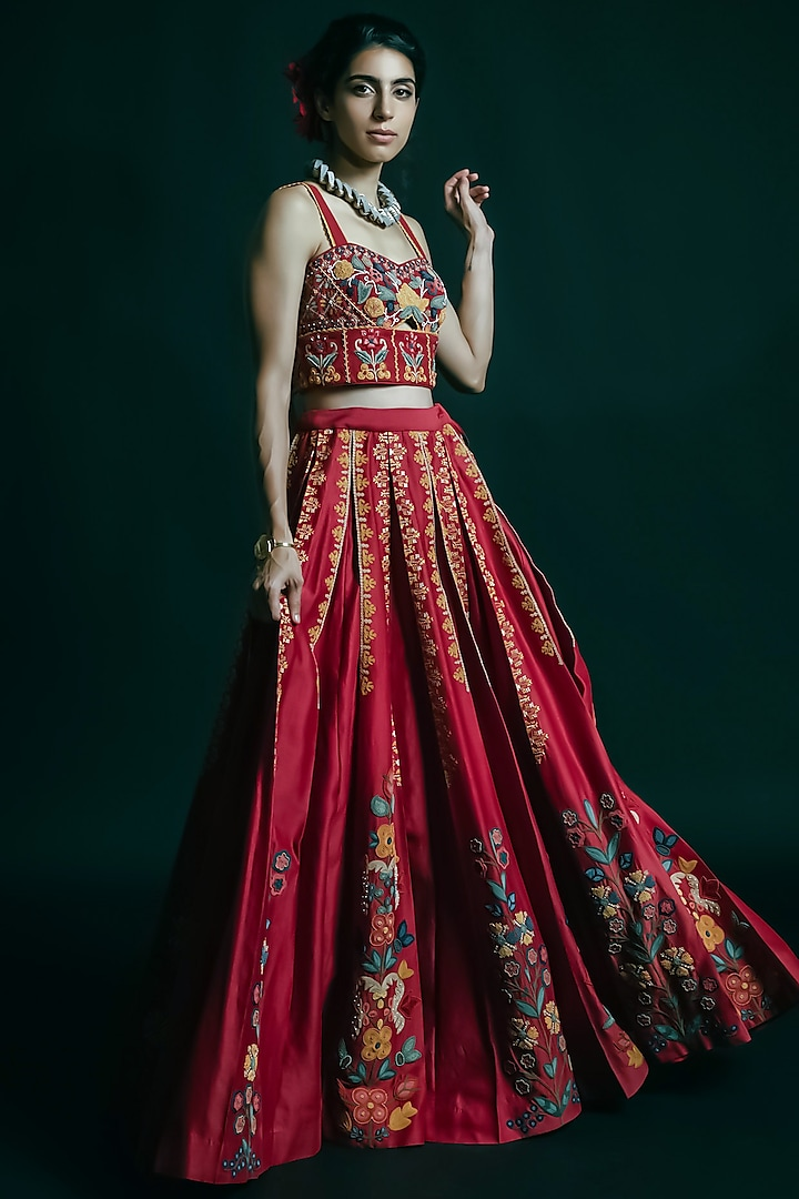 Red Embroidered Bustier by Chandrima