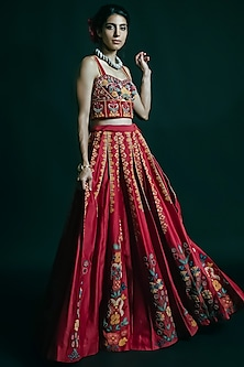 Red Embroidered Bustier by Chandrima-CHANDRIMA