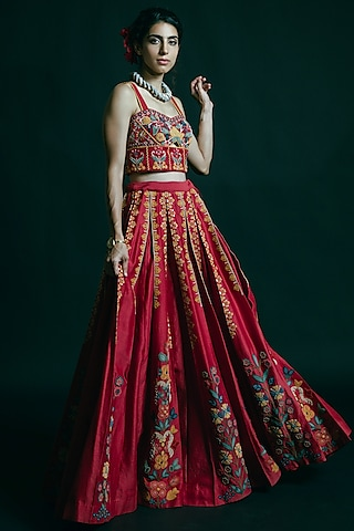 Red Cutwork Embroidered Lehenga by Chandrima