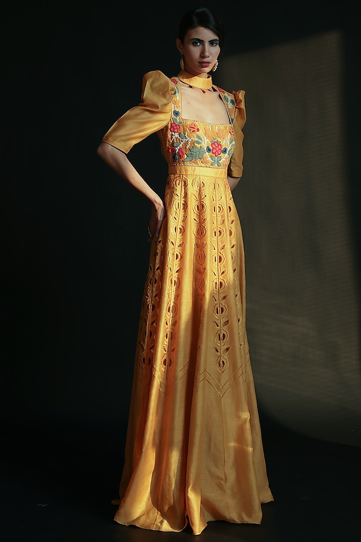 Yellow Cutwork Embroidered Dress by Chandrima