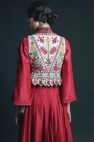 Ivory Cutwork Embroidered Waistcoat by Chandrima