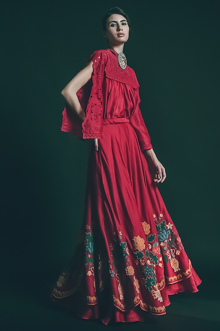 Red Cutwork Embroidered Top by Chandrima