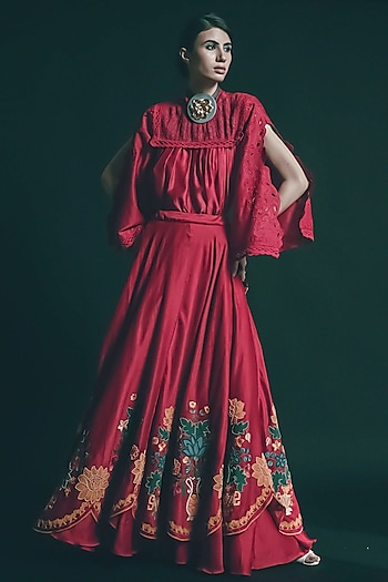 Red Embroidered Scalloped Lehenga by Chandrima
