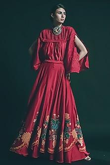 Red Embroidered Scalloped Lehenga by Chandrima-CHANDRIMA