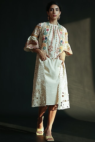 Ivory Embroidered Jacket by Chandrima