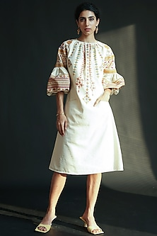 White Embroidered Dress by Chandrima