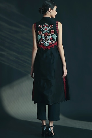 Black Beads Embroidered Jacket by Chandrima