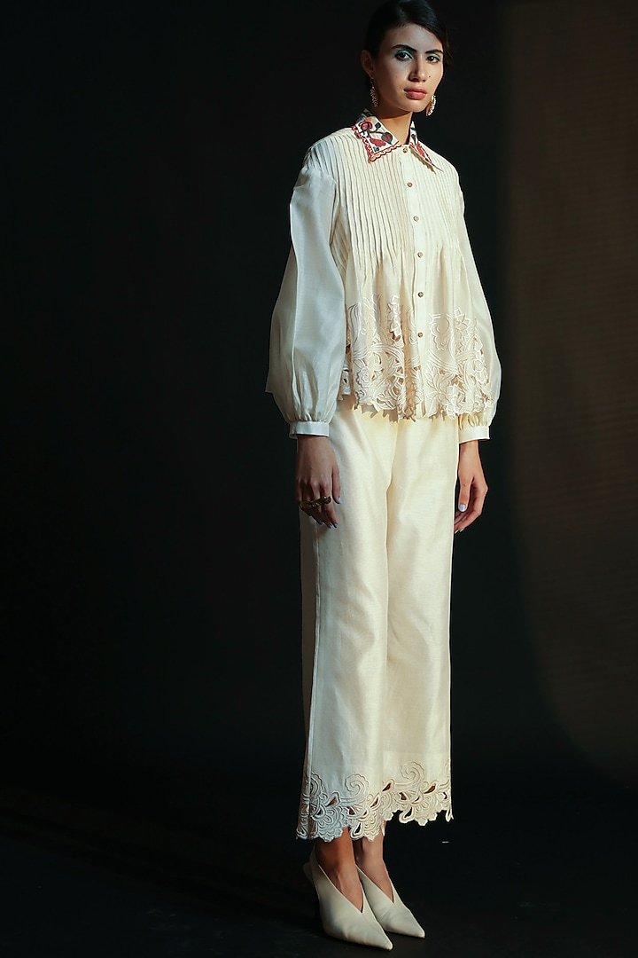Ivory Beads Embroidered Top by Chandrima