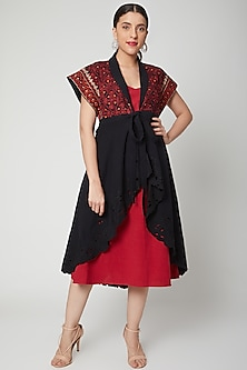 Black Embroidered Jacket With Red Slip by Chandrima