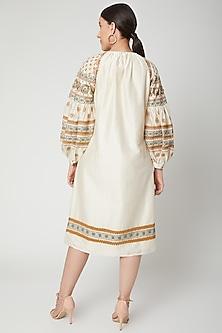 Ivory Embroidered Kurta Dress by Chandrima