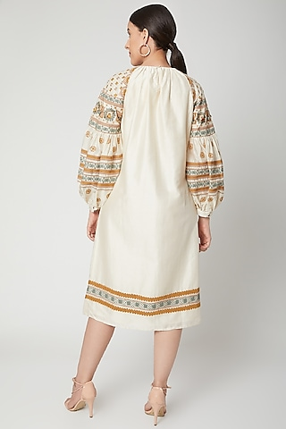 Ivory Embroidered Kurta Dress by Chandrima