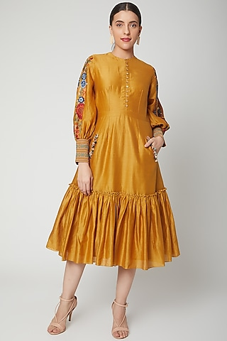 Mustard Embroidered Gathered Dress by Chandrima