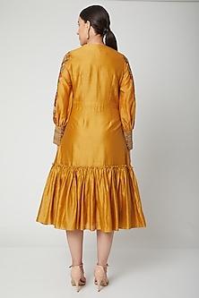 Mustard Embroidered Gathered Dress by Chandrima