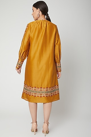 Mustard Thread Embroidered Kurta Dress by Chandrima