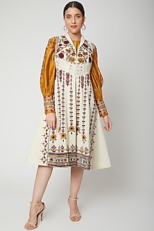 Ivory Embroidered Kalidar Jacket by Chandrima