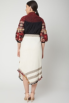 Ivory Cutwork Embroidered Skirt by Chandrima