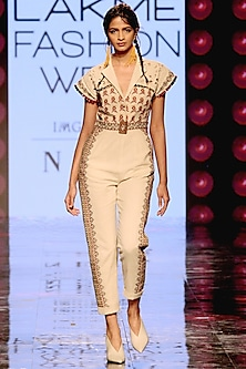 Ivory Thread Embroidered Jumpsuit by Chandrima