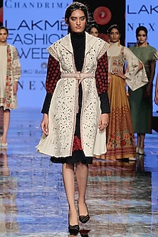 Ivory Embroidered Pleated Jacket by Chandrima