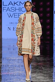 Ivory Jacket With Embroidered Lapel by Chandrima