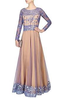 Nude and mauve mirror work valentino anarkali by Cherie D