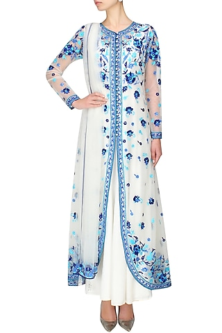 Ivory and blue floral embroidered anarkali and jacket set by Cherie D