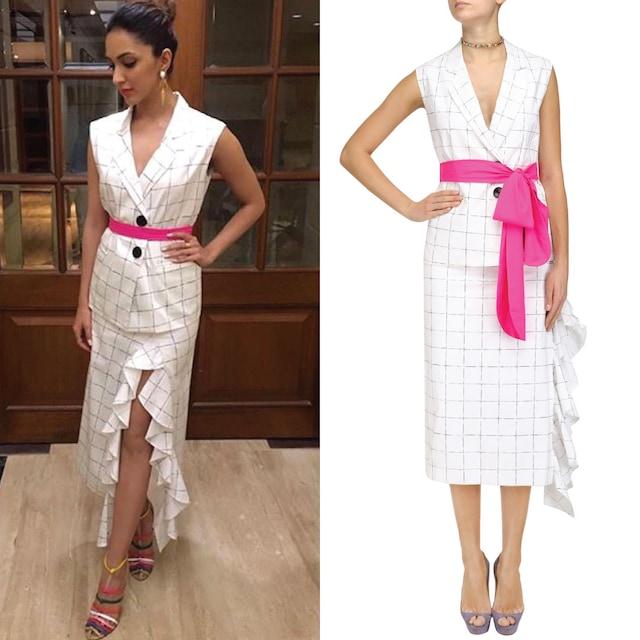 White Checkered Blazer and Skirt Set by Nishka Lulla