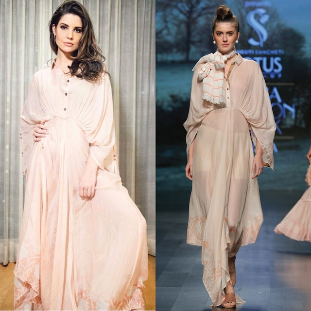 Pastel sand brown kimono dress by Pinnacle By Shruti Sancheti
