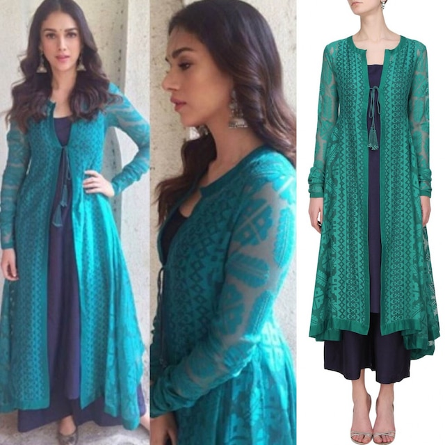Teal jaquard front open jacket kurta navy slip and pants by Payal Pratap