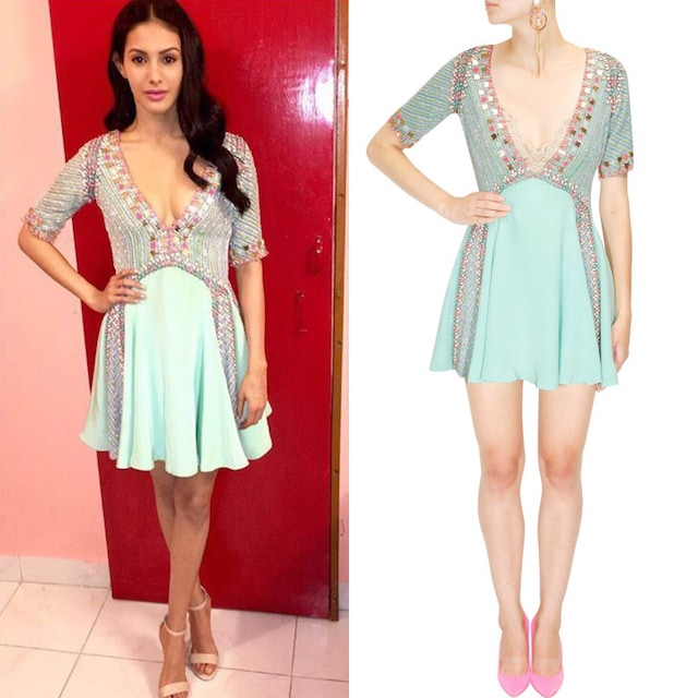 Mint green mirror and beads embellished full circle dress by Papa Don't Preach by Shubhika