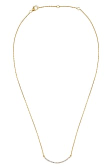 Gold Vermeil Finish Diamond Pave Bar Necklace by Carrie Elizabeth