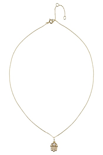 Gold Vermeil Finish Hand Of Fatima Diamond Pendant Necklace by Carrie Elizabeth