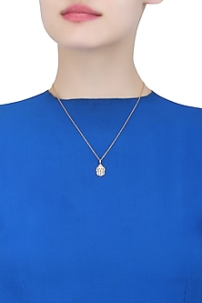 Gold Vermeil Finish Hand Of Fatima Diamond Pendant Necklace by Carrie Elizabeth
