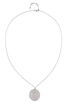 Silver Vermeil Finish Large Aztec Disc Pendant Chain Necklace by Carrie Elizabeth