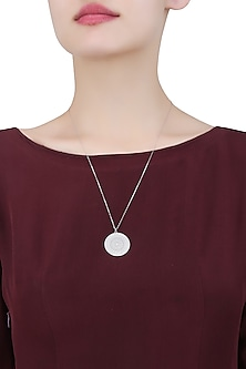 Silver Vermeil Finish Large Aztec Disc Pendant Chain Necklace by Carrie Elizabeth