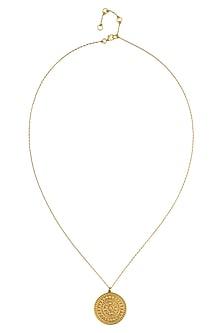 Gold Vermeil Finish Small Aztec Disc Pendant Chain Necklace by Carrie Elizabeth