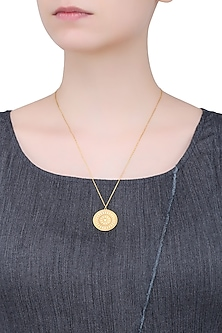 Gold Vermeil Finish Small Aztec Disc Pendant Chain Necklace by Carrie Elizabeth
