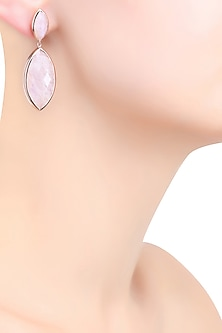 Rose Gold Vermeil Finish Moonstone Earrings by Carrie Elizabeth