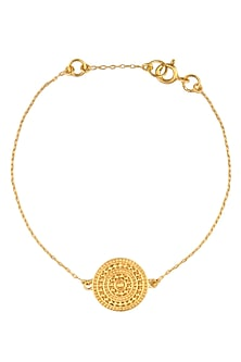 Gold Vermeil Finish Aztec Disc Bracelet by Carrie Elizabeth