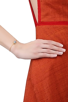 Gold Vermeil Finish Aquamarine Stone Bracelet by Carrie Elizabeth